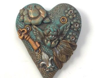 Heart of Stone Series Angel key brooch made in 2012 by Marie Segal