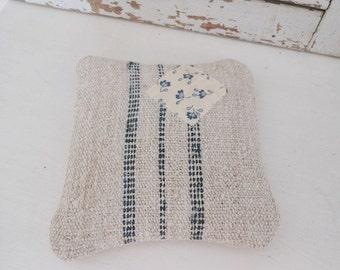 Grain sack sachet, lavender sachet with patch