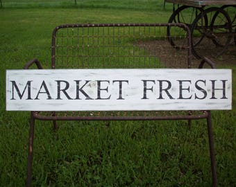 Large MARKET FRESH sign / Farmhouse Decor / French Country Decor / Country Kitchen Wall / Cottage Kitchen /  Rustic Wood Sign