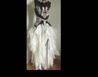 Boho Fairy Wedding dress,  Vintage lace, crochet Silk chiffon , Beads,embroidery  Crystal