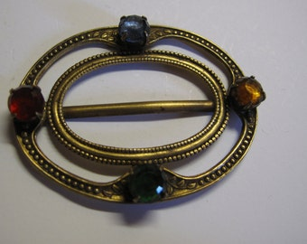 """1 1920's Czech filigree buckle with multi coloured   paste stones,  55 mm by 40 mm or 2"""" by 1 1/2"""" ref 1463"""