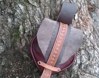 Leather Tooled Medieval Celtic Festival Belt Bag
