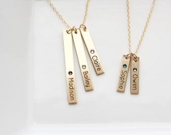 Engraved Birthstone Bar Necklace - Personalized Gift For Mom, Custom Necklace Gift Engraved Personalized Gift Child Names Initials Necklace