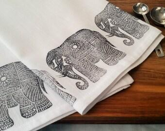 """Black Elephants Block Printed Flour Sack Kitchen Towel 28"""" x 32"""""""