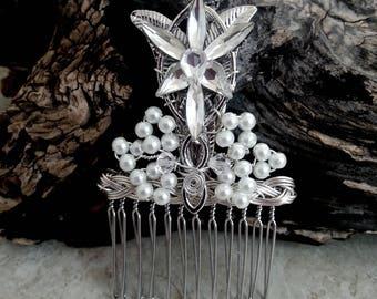 Evenstar Hair Comb Small, Bridal Hairpiece,Elven Hair Accessories, Fascinator, Hair Pin, LOTR Wedding