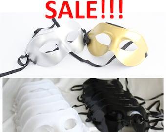 Phantom of the Opera Masks, Masquerade Party Pack Black White Gold Silver, Mardi Gras, New Year's, Venetian, Costume, overthetopcaketopper