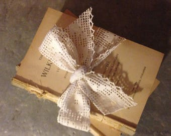 Bundle of Coverless Antique Books with Hand Crochted Lace (1)