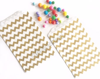 Gold Favor Bags, Metallic Gold Chevron Favor Bags, 50th Birthday Party, 50th Wedding Anniversary, Gold Wedding, Gold Shower