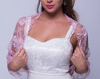 Pink Lace Shrug (4- Options- Shrug, Shawl, Twisted Shawl And A Scarf) Wedding, Prom Or Party Clothing, Lace cover Up, Ping Wedding DL104