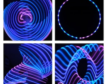 Dragon Fly LED Hula Hoop, Sections Pink Blue & Purple X2