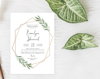 Bridal Shower Invitation, Gold and Greenery Bridal Shower, Simple Invitation, Eucalyptus Invitation