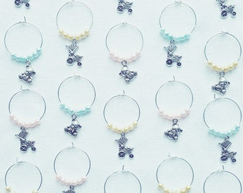 Hand Made Baby Shower Teddy And Pushchair Wine Glass Charms! Choice Of Colours! Free UK Shipping!