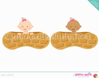 Instant Download Baby Girl in a Peanut Cute Digital Clipart, Peanut Baby Clip art, Baby Graphics, Girl Baby Peanut Illustration, #1070