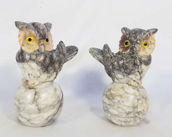 Fabulous Pair of Vintage Handcarved Alabaster Marble Owl Bookends Made in Italy
