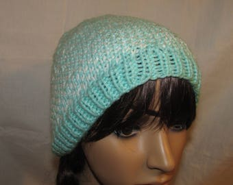 White and Mint Slouchy Knit Beanie