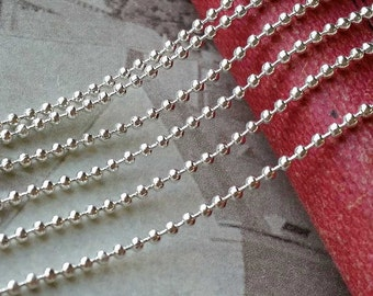 2 Meters of 1.5 mm Silver Ball Chain (.gc)
