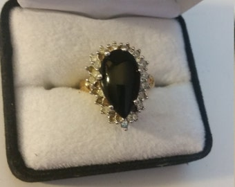 Large Vintage Black Onyx 18 KGE and silver setting