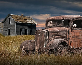 Abandoned Farm House and Rusty Pickup Truck on the Prairie with the Decline of the Small Farm No.7 a Fine Art Landscape Photograph