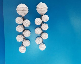White statement earrings Long beaded earrings Trending Jewelry Ball drop earrings Coconut earrings Pompom bonbon earrings beadwork jewelry