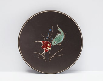 KIECHLE Wall Plate, Hand Painted Numbered, Fish Decor 1950s, Midcentury Cermanic W.-Germany