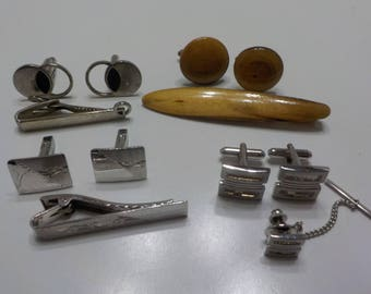 Four (4) Vintage Cuff Links & Tie Bar/Tacks Sets (604)