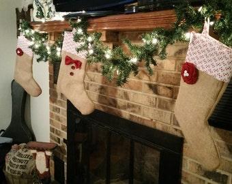 Burlap Christmas Stockings: His or Hers Stockings