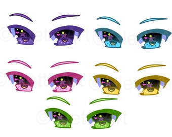 Anime Eyes Clipart Manga For Personal And Commercial Use Digital Instant Download Scrapbooking