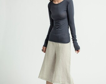 Black Top / Einzigartige One-Shoulder-Hülsen-Bluse / Designer-Bluse / Partei-Trägershirt mit extra-lange Hülse / marcellamoda - MB289