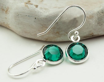 Emerald Earrings - Emerald Green Earrings - May Birthstone Earrings - Drop Earrings - Emerald Jewelry - Silver Earrings - Crystal Earrings