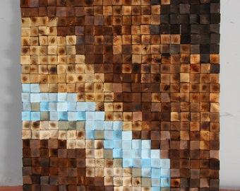 Woodburning Reclaimed Wood wall Art, Wood mosaic, Geometric art, Wood wall art , Rustic Wood wall Art, Wood wall sculpture Abstract wood art