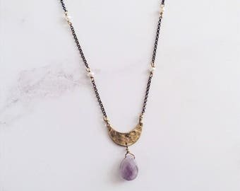 Crescent moon simple necklace, amethyst brass freshwater pearls, purple gold necklace, serenity jewelry, february birthstone