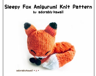 Knit Sleepy Fox Amigurumi Pattern, Fox Knitting Pattern, Sleepy Fox Toy, Cute Sleeping Animal Pattern, Fox Plushie Pattern, Knit Fox Pattern
