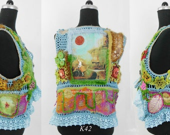 Crochet Hippie vest, 70s style, crochet vest,effektiv details, Slow fashion,  Exclusive dress,Spring outfit