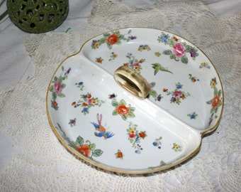 Early 1900s Nippon Hand Painted Candy Dish//Floral With Birds Design//Nippon Divided Dish with Handle//Antique Divided Dish
