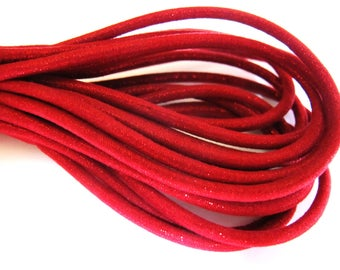 LACE ROUND CORD BUMBLEBEE 3 MM DEEP RED LUREX 30CM BY 30CM