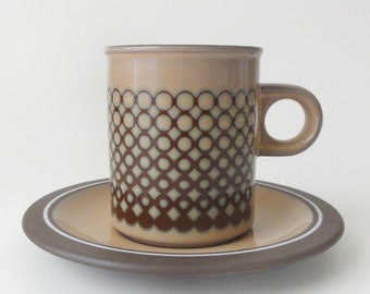 Vintage Mod Coffee Cups and Saucers Hornsea England Set of Two