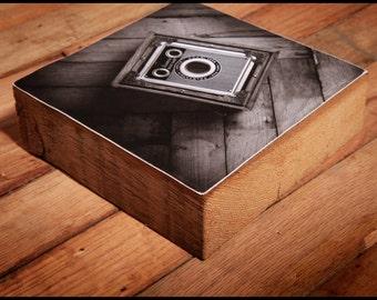 Antique Brownie Camera Reclaimed Wood Block Art Piece
