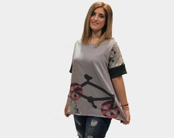 Gray women organic cotton top/ gray top with bike/ summer cotton top/ short sleeves top/gift for her/ casual top/ hanmade top/ bike applique