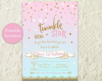 Twinkle Twinkle Little Star Pink and Gold Glitter Birthday Party Printable Invitation, Twinkle Twinkle Girl 1st First Birthday Invite