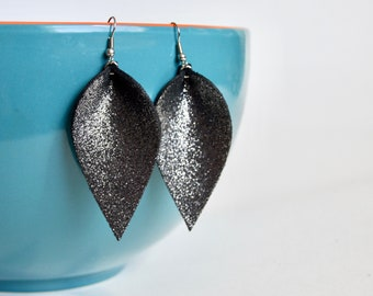 NEW DESIGN Black and Silver Sparkle Leaf Shaped Leather Earrings: Joanna Gaines Inspired Leather Leaf Earrings // Leafy Treetop Leather