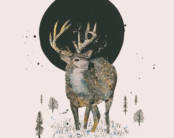 Woodland Forest Series: Deer & Moon — Art Illustration Giclee Print