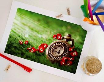 Special Edition Clock Print, Fantasy Clock Art Print, Home Decor A4. 29.6 x 20.7 cm.