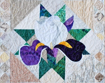Quilt Pattern - PDF - Iris Applique Art Quilt Pattern - Immediate Download