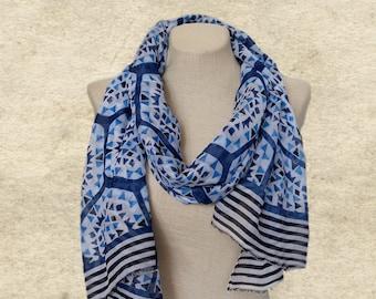 Blue womens scarf, Womens shawl scarf, Geometric print, Lightweight scarf, Fabric ladies scarf, Trendy blue scarf, Scarf for women