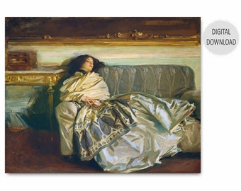 "John Singer Sargent Painting Print Download (Chic Bedroom Wall Decor, Printable Woman Art, Antique Portrait) 1911 ""The Woman in Repose"""