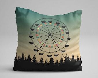 Ferris Wheel Throw Pillow, Green Throw Pillow, Art Throw Pillow, Illustration Pillow, Bedroom Decor, Nursery Throw Pillow, Throw Cushion