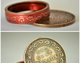 Red Ring, Coin Ring, Vine Ring, Copper Ring, Canadian Penny, Coin Rings, Coin Art,  Floral Ring, Gift for Her, Unique Ring, Copper RIng