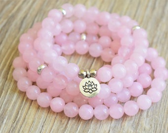 108 mala beads bracelet rose quartz mala 108 prayer beads love mala necklace bracelet lotus mala beads 108 mala tibetan mala buddhist mala