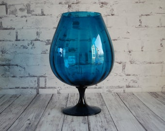 "Beautiful Blue Glass 13"" Oversized Brandy Snifter Balloon Vase, Mad Men Mid Century Modern Style Glassware Vase, Gorgeous Deep Blue Color"