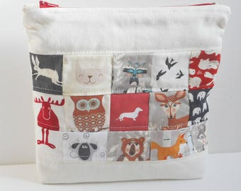 Critter Bag/Cosmetic Bag/Storage Pouch/Patchwork Linen Bag/Toiletry Bag/Zipper Bag/Woodland Animals Makeup Bag